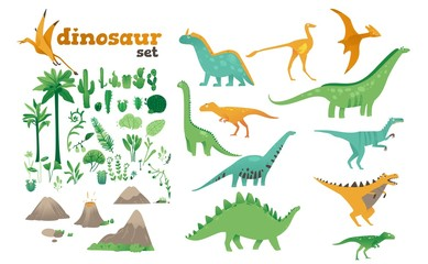 Set of dinosaurs, ancient plants, volcanoes of the Jurassic period.