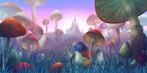 """fantastyczny krajobraz z grzybami i mgłą. ilustracja do bajki """"Alicja w Krainie Czarów"""""""