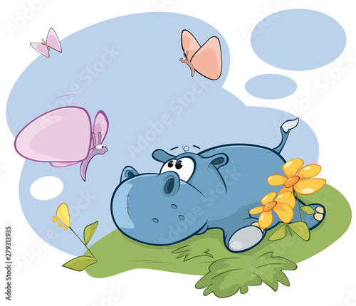 Papiers peints Chambre bébé Vector Illustration Cute Little Hippo and Butterfly Comics Book