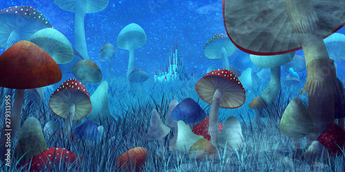 """fantastic landscape with mushrooms and fog. illustration to the fairy tale """"A..."""