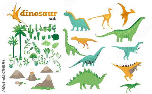 Photo Set of dinosaurs, ancient plants, volcanoes of the Jurassic period