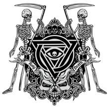 Gothic Sign With Skull, Grunge Vintage Design T Shirts