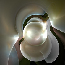 Digital Computer Fractal Art Abstract Fractals Mother-of-pearl Ball In Pearl Nest
