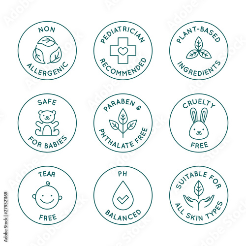 Vector set of design elements, logo design templates, icons and badges for natural and organic cosmetics and skincare for babies in trendy linear style - safe for newborns products