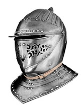 Knights Medieval Helmet Isolated On White