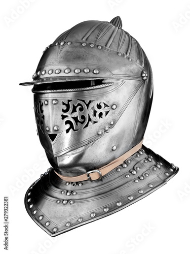 Knights medieval helmet isolated on white Wallpaper Mural