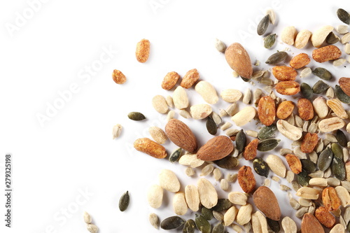 Valokuvatapetti Healthy food mix of salted and spicy peanuts, sunflower and pumpkin seeds, almon