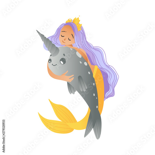 A young mermaid, a girl with purple hair, a crown sits astride a cute narwhal in a cartoon style Wallpaper Mural