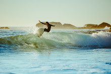 Young Man Water Surfing In The...
