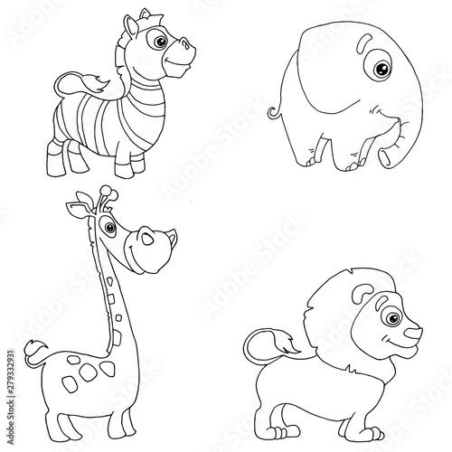 In de dag Cartoon draw set of doodle hand-drawn african animals zebra, elephant, giraffe, lion