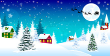 Christmas Winter Village Night Snow Santa. Winter Rural Landscape. The Night Eve Christmas. Village, Snow, Forest. Shining Stars And Snowflakes In The Night Sky. Santa On A Sleigh On The Background Of