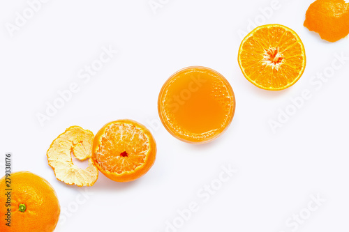High vitamin C, Fresh orange juice with fruits, isolated on white. Juicy and sweet