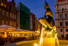 Old Famous Square Market With Restaurants And Cafe In Poznan