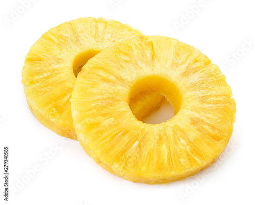 Pineapple ring. Pineapple slice isolated. Canned pineapple circle on white background. Wall mural