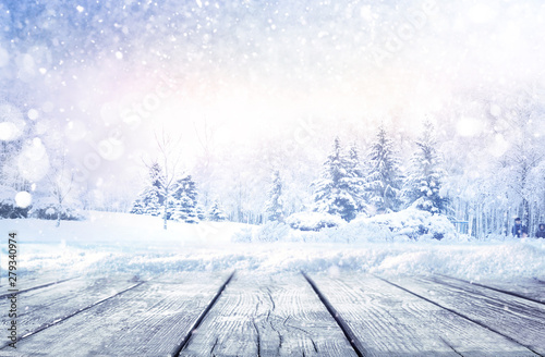 Leinwand Poster Winter christmas scenic landscape with copy space