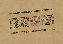 Reduce Waste, Reuse, Recycle Typography Stamp Poster, Eco Friendly Concept