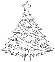 Cristmas Tree Outline Vector Illustration. Coloring Book For Children.