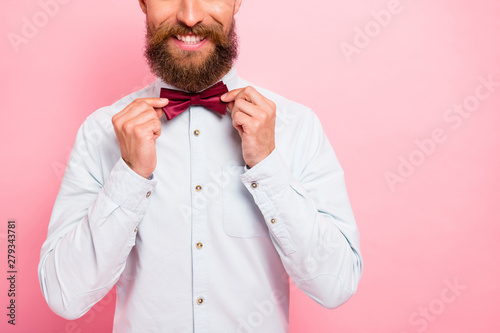 Canvas Print Close-up photo of smart comic positive cheerful excited with beaming smile perso