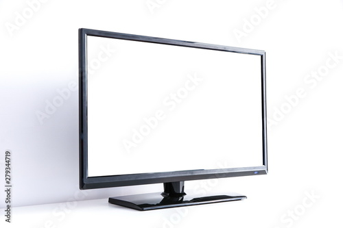 Fotografie, Obraz  black LCD TV on a white background with copy space