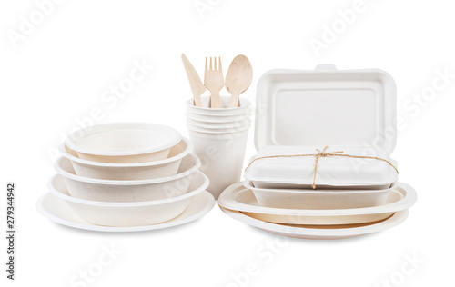 Set of unbleached plant fiber food box and paper cup. Canvas Print