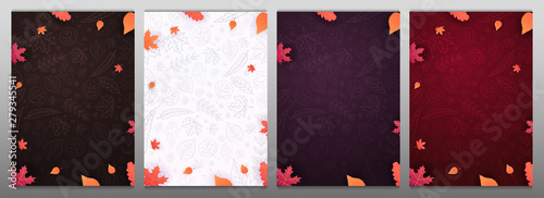 Set of Autumn backgrounds with leaves for shopping sale or promo poster and frame leaflet or web banner and social media Wallpaper Mural