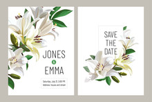 Floral Wedding Invitation Card Template Design. Light Lilies On White Background.