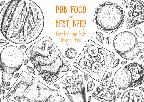 Pub food frame vector illustration Canvas Print