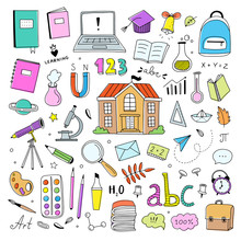 Hand Drawn Colored School Icons On White Background. Vector Sketch Back To School Learning Illustration Set