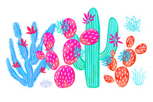 Cactus Succulent Wild Set Flowers Colorful Watercolor Pink Collections. Houseplant Beautiful Set On White Background. Hand Drawn Vector Illustration.