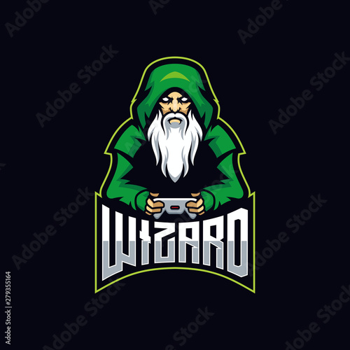 Wizard gaming E Sport logo. Witch gaming vector Wallpaper Mural
