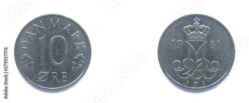 Danish 10 Ore 1981 year copper-nickel coin, Denmark Tableau sur Toile