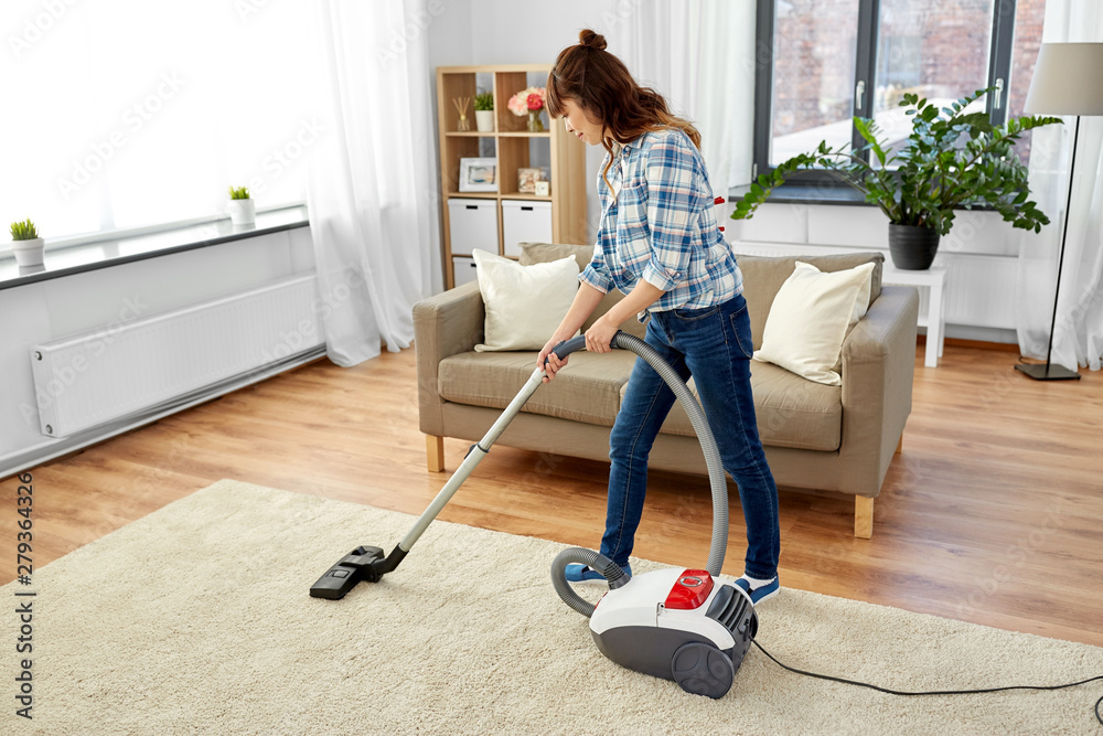 Fototapety, obrazy: household, housework and cleaning concept - asian woman or housewife with vacuum cleaner at home