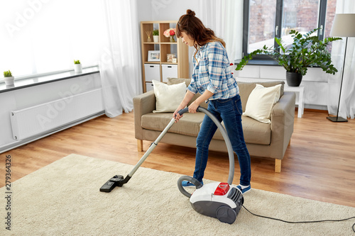 Fotografie, Obraz  household, housework and cleaning concept - asian woman or housewife with vacuum