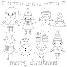 Christmas Characters, Coloring...