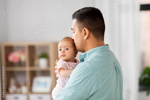 Obraz family, parenthood and fatherhood concept - middle aged father with little baby daughter at home - fototapety do salonu