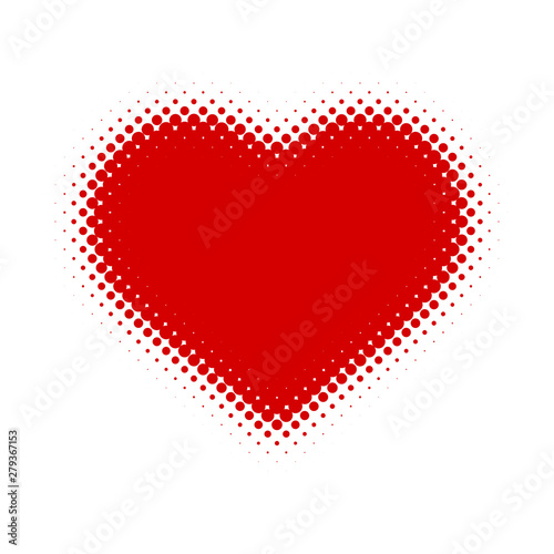Red isolated heart in the style of pop art. Vector illustration.