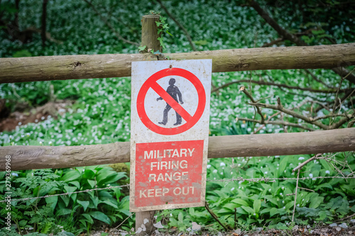 Keep Out sign for military Firing Range Wallpaper Mural