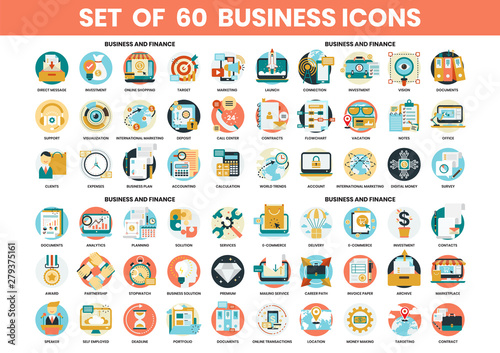Cuadros en Lienzo Business icons set for business