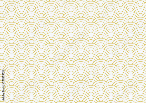 vector background of gold japanese wave pattern Poster Mural XXL
