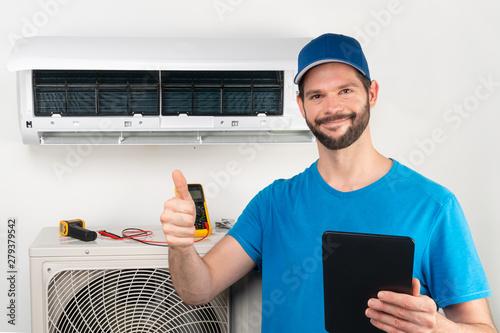 Photo Installation service fix  repair maintenance of an air conditioner indoor unit,