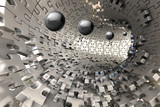 Fototapeta Perspektywa 3d - 3D Wallpaper, metal Tunnel with balls coming out