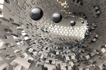 Fototapeta3D Wallpaper, metal Tunnel with balls coming out