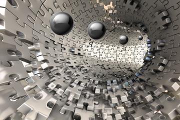 3D Wallpaper, metal Tunnel ...