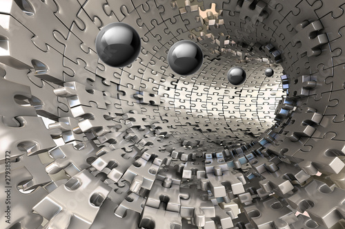 3D Wallpaper, metal Tunnel with balls coming out