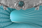 Fototapeta Scene - 3d blue tunnel with silver decoration background and pearl