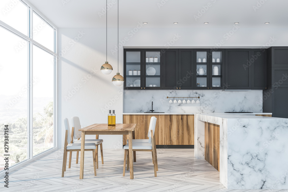 Fototapety, obrazy: White marble and gray kitchen, counter and table