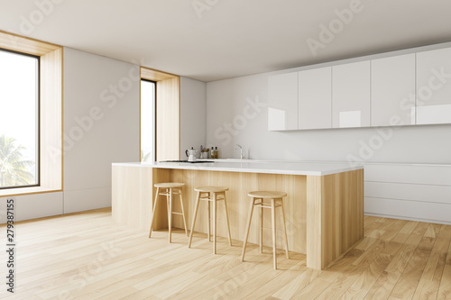 Photo White loft kitchen corner with bar