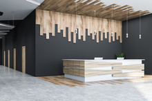 Gray And Wooden Office Hall Corner, Reception Desk