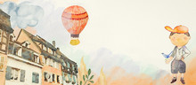 My Home. Watercolor Background For Children