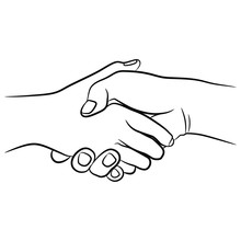 Two Human Hands Clasped In Han...